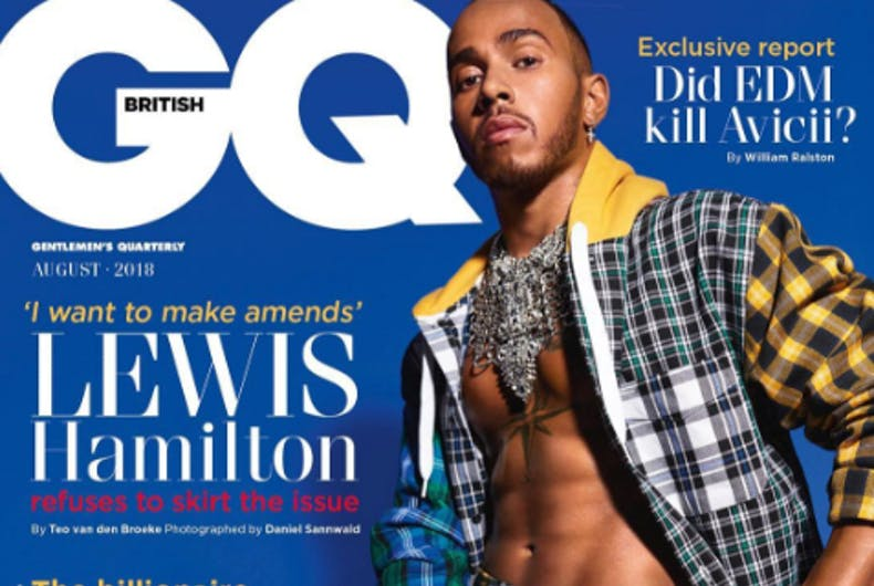 Race-car driver Lewis Hamilton wears a kilt to apologize for shaming his nephew