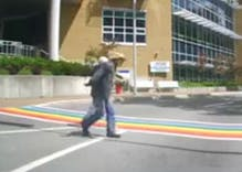 This video of a man spitting on a rainbow crosswalk has gone viral