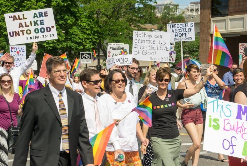 Salt Lake City, Utah, USA - June 7, 2015. Members of the group Mormons Building Bridges march in the Salt Lake City, Utah Gay Pride Parade.
