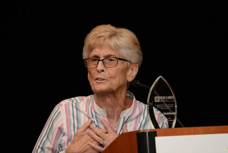 August 2018: Union leader and lesbian icon Nancy Wohlforth accepts the Pride At Work Solidarity Award.