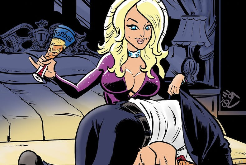 Stormy Daniels spanks Donald Trump on the cover of the new comic book