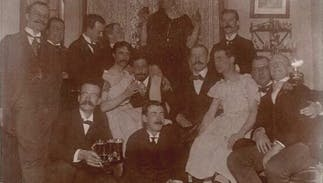 These men were having a gay old time at a party in the early 1900s