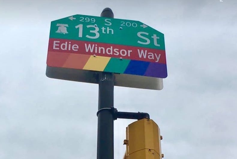 The sign for Edie Windsor Way