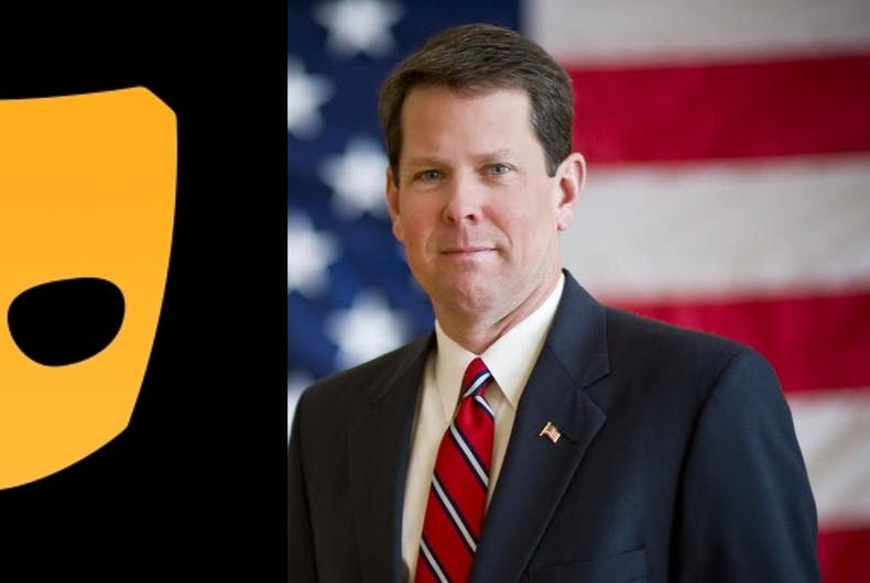 Brian Kemp, the Republican candidate for governor of Georgia, has been advertising on the gay hookup app Grindr.