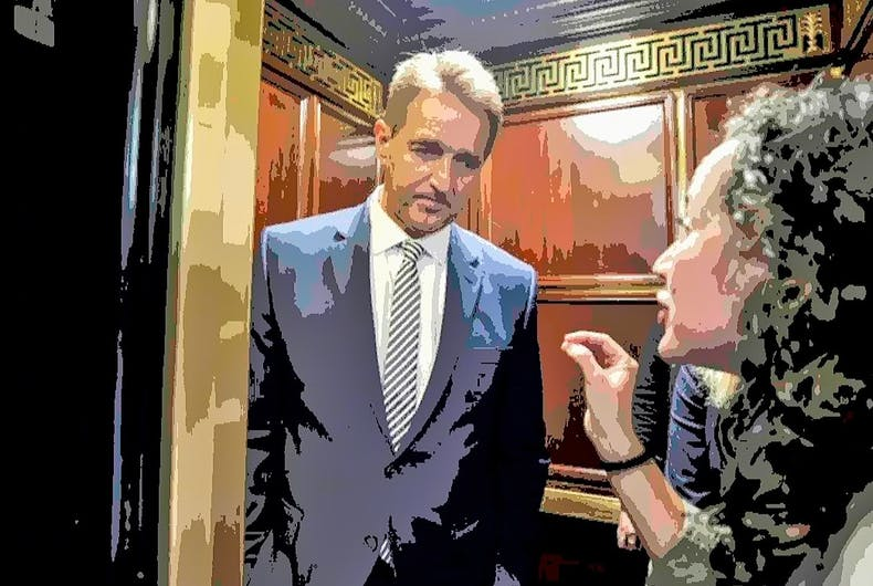 Republican Senator Jeff Flake is confronted in the elevator by a woman telling her story of sexual assault. Flake voted to confirm Brett Kavanaugh to the Supreme Court despite numerous allegations of sexual assault.