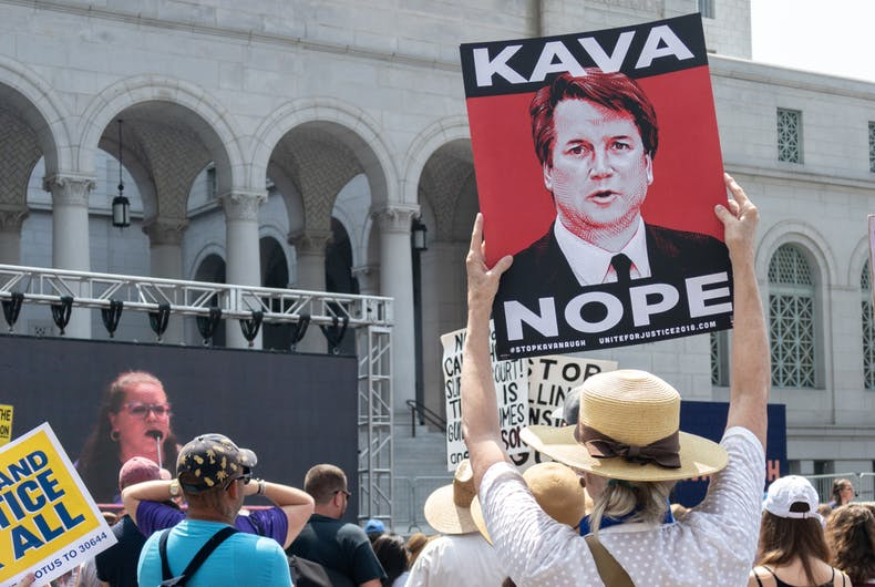 AUGUST 26, 2018: Protesters took to the streets to protest Donald Trump's nomination of Brett Kavanaugh to the Supreme Court.
