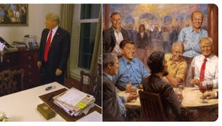 A painting of Trump having a Diet Coke with Lincoln & Nixon hangs in the White House