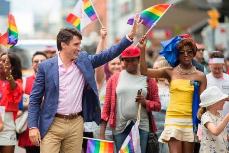 Canadian Prime Minister Justin Trudeau with trans activist Biko Beauttah at Pride Toronto