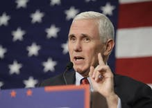 Pence opens campaign rally with 'rabbi' who skips shooting victims to pray for Republican candidates