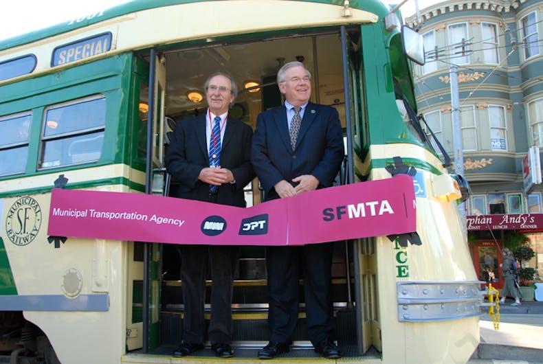 Dedication of a streetcar in honor of Harvey Milk