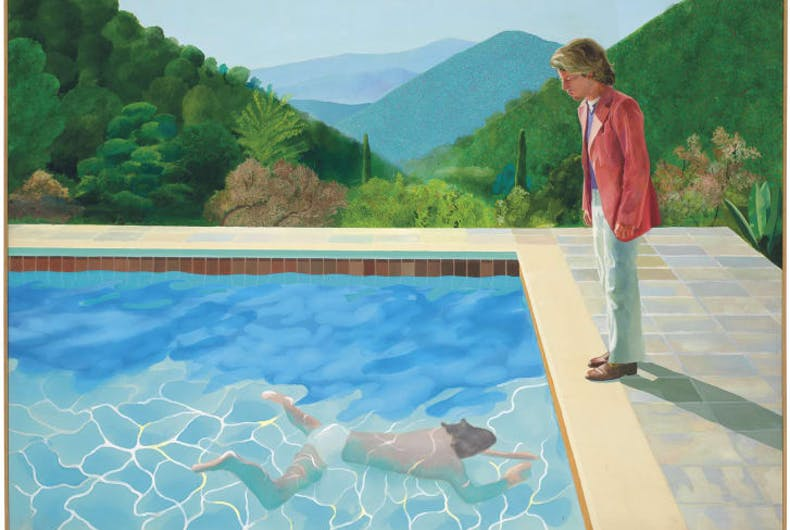 A painting of a man in a pool and a man in a red blazer standing by the pool