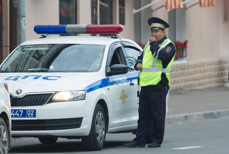 A police officer on duty in Kazan, Russia on June 21, 2018.