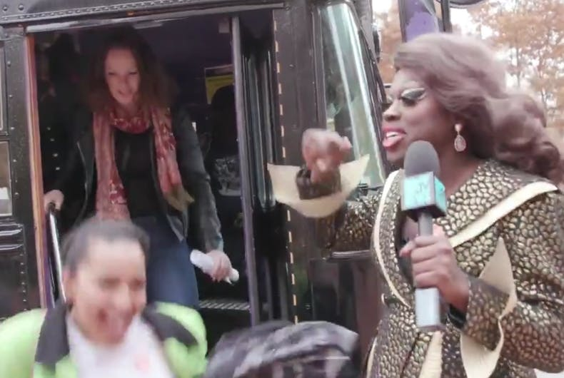 Bob the Drag Queen gets people off the bus and to the polls.
