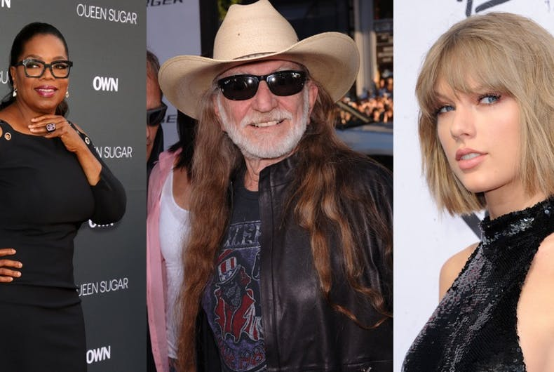 Oprah Winfrey, Willie Nelson, and Taylor Swift are helping Democrats get out the vote in the midterm election.