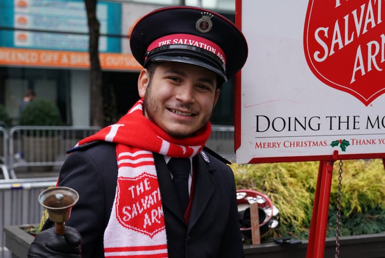 DECEMBER 19, 2017: Salvation Army soldier performs for collections in midtown Manhattan.