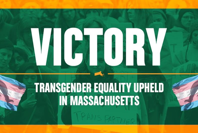 Massachusetts activists are celebrating the first ballot win for trans civil rights.