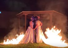 These brides set their dresses on fire for the most amazing wedding picture ever