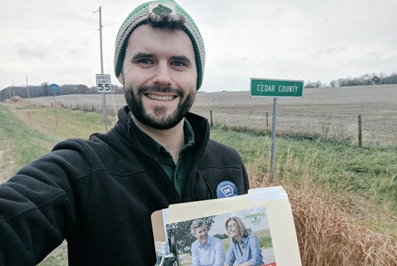 Zach Whals, canvassing in Iowa