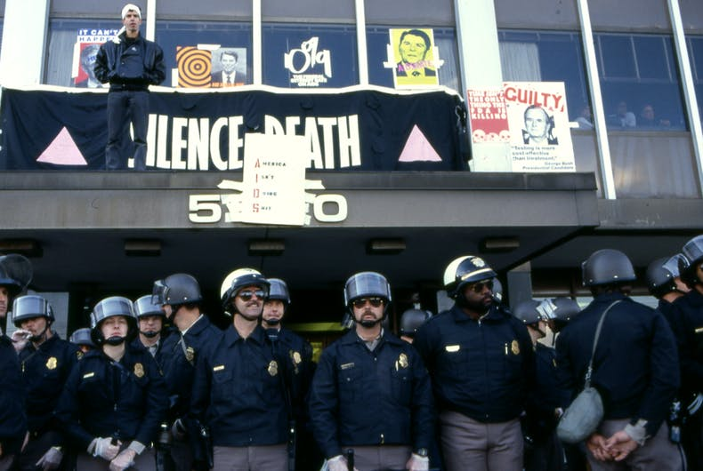 Police guard the FDA headquarters in 1988 after ACT UP members stormed the building demanding better access to life-saving drugs.