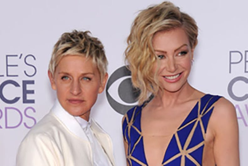 Ellen Degeneres & Portia de Rossi with a CBS background