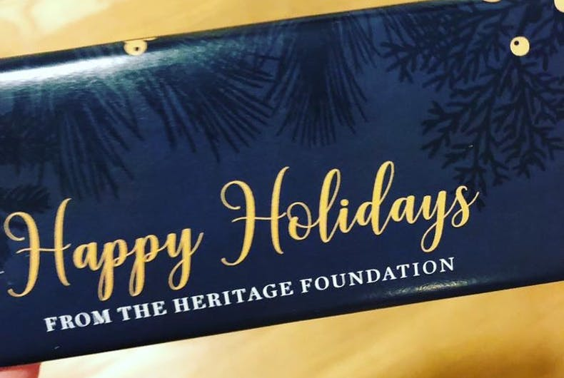 The Heritage Foundation has taken sides in the War on Christmas.