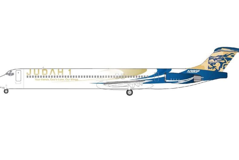 Mockup of Judah 1's new Christian-themed airline livery