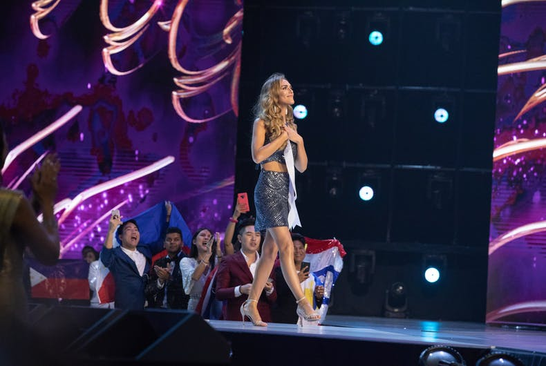 Angela Ponce, Miss Spain 2018, was the first transgender contestant during The MISS UNIVERSE® Competition. Contestants from around the globe spent the last few weeks touring, filming, rehearsing and preparing to compete for the Miss Universe crown.