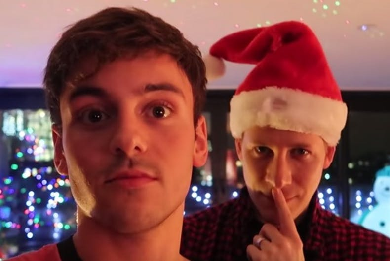 Tom Daley and Dustin Lance Black get ready for baby's first Christmas.