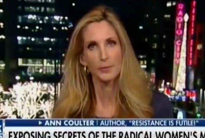 Ann Coulter on Fox News with a chyron under her.
