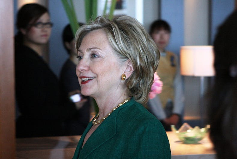 U.S. Secretary of State Hillary Rodham Clinton prepares to deliver remarks at a press briefing addressing the Cheonan incident in Beijing, China, on May 23, 2010.