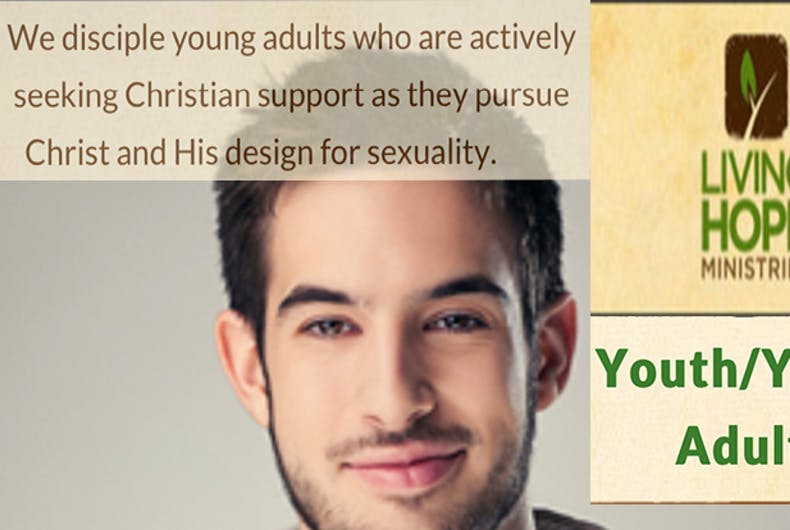 A screenshot from the app. a young man smirks at the camera and messages about conversion therapy appear, as well as the logo for Living Hope Ministries.