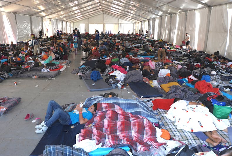November 2, 2018: A shelter for the migrant caravan of Central Americans heading to the United States set up in Mexico City offers less than ideal conditions.