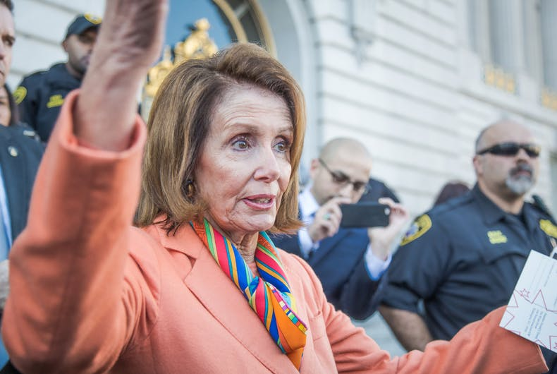 JANUARY 15 2017: Nancy Pelosi speaks to constituents after a healthcare rally at San Francisco City Hall.