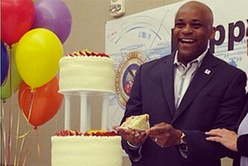 Michael Hancock with cake