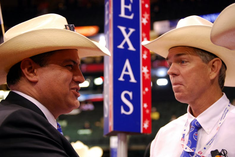 Texas delegates Rene Diaz (L) and David Barton (R) chat while at the Republican National Convention at the Xcel Energy Center on September 3, 2008 in St Paul, Minnesota.