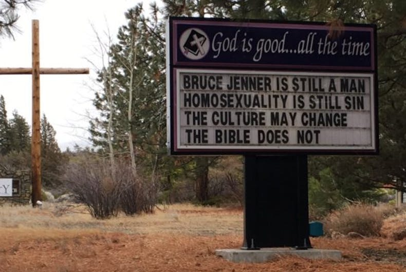 A sign in front of a church.