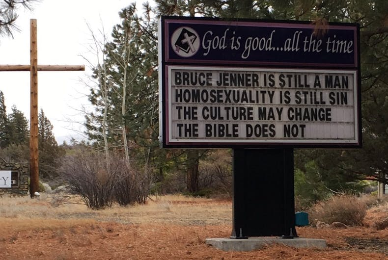 An anti-LGBT sign was posted in front of Trinity Bible Presbyterian Church and neighbors are upset by it.