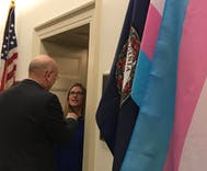 One of the first things this freshman Congresswoman did was hang a trans flag outside her office