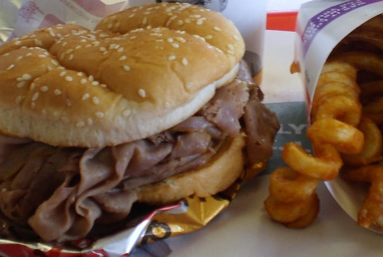 Arby's beef sandwich and fries