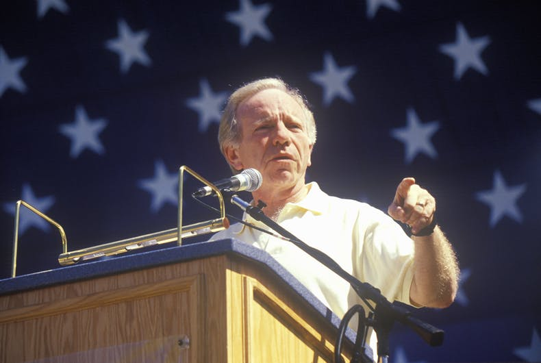 Senator Joe Lieberman campaigns for vice president during a rally at California State University at Fresno in 2000.