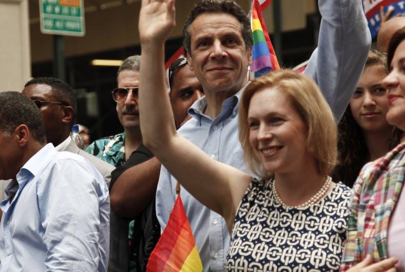 David Paterson, Andrew Cuomo, Kirsten Gillibrand, and Christine Quinn march in the 2010 New York City Pride parade.