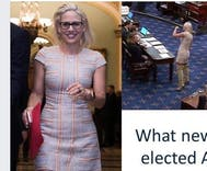Republican politician criticizes out Senator Kyrsten Sinema's clothing. Yes, he's a man.