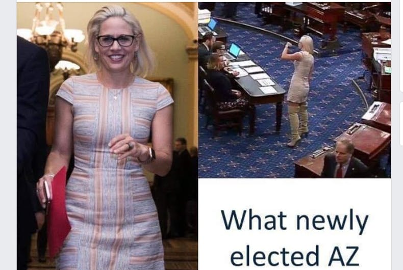A Facebook post with pictures of Kyrsten Sinema