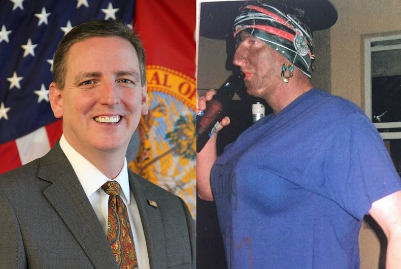 Side-by-side of Michael Ertel's official portrait and the picture of him in blackface