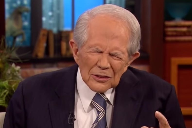 Pat Robertson with his eyes closed