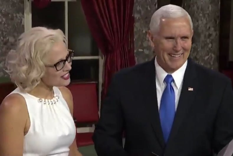 Kyrsten Sinema and Mike Pence