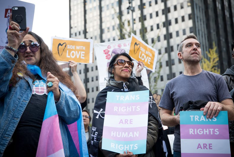 Philadelphia, PA/USA - October 23, 2018- Hundreds gather in Love Park in Philadelphia in response to the Trump administrations memo defining gender as an unchangeable biological characteristic