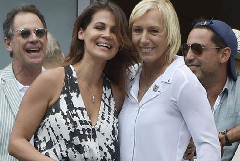 Martina Navratilova (right) with her wife Julia Lemigova.