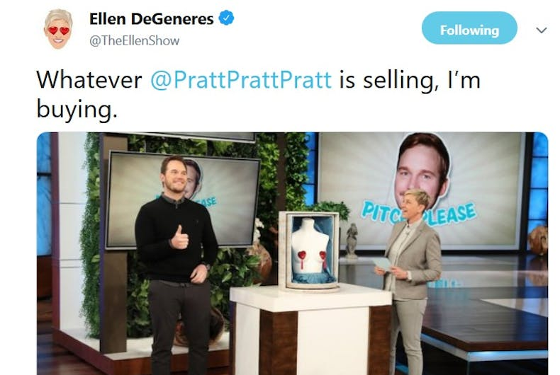 A Tweet from Ellen promoting a segment with Chris Pratt