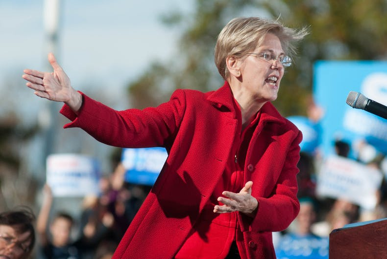 U.S. Senator Elizabeth Warren, Democrat of Massachusetts, campaigns for Democratic presidential nominee Hillary Clinton at St. Anselm College in Manchester, N.H., on Oct. 24, 2016.